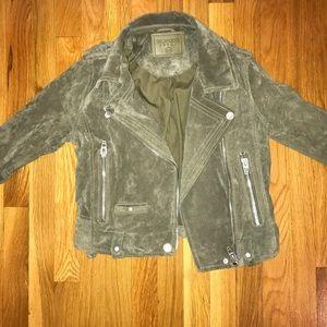 Olive green suede biker jacket BLANKNYC